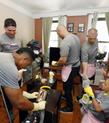 Yankees cleaning the living room