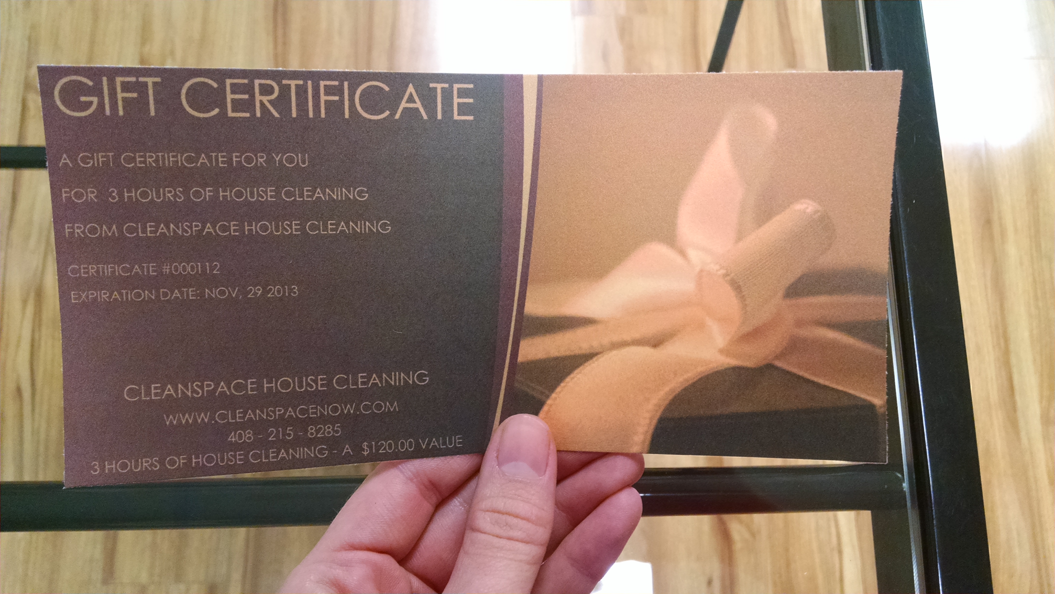 House Cleaning Gift Certificate-what it looks like.